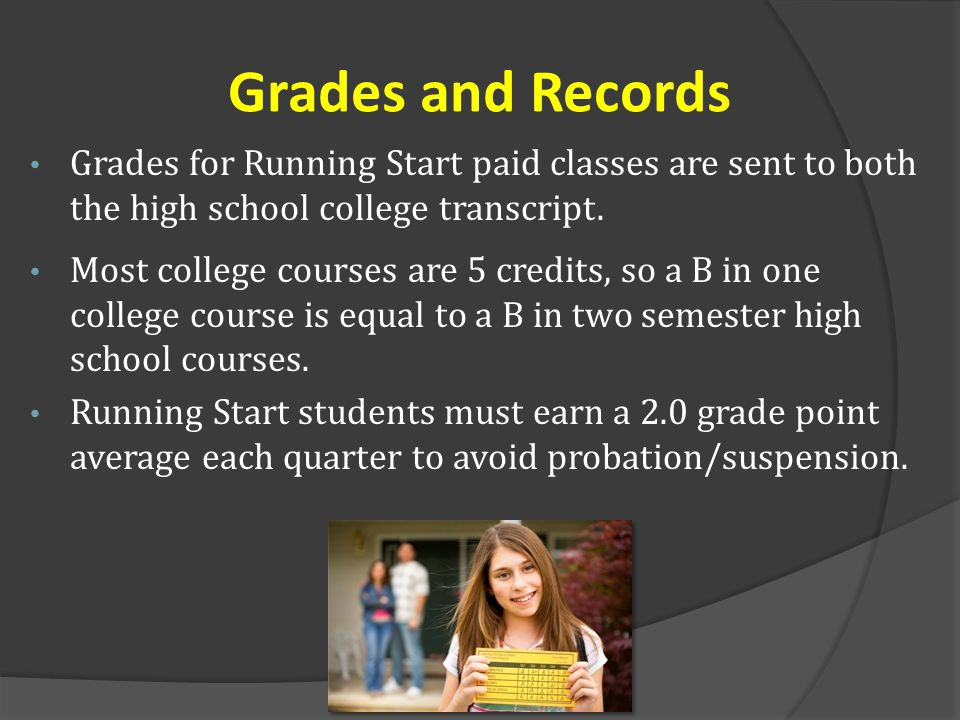 Grades and Records Grades for Running Start paid classes are sent to both the high school college transcript.