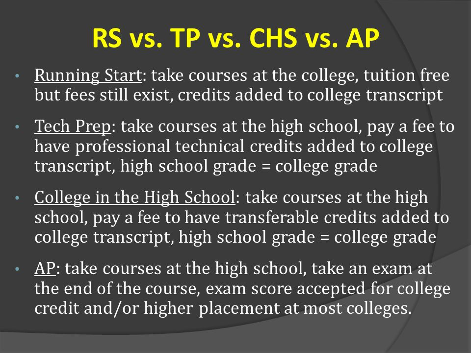 RS vs. TP vs. CHS vs. AP Running Start: take courses at the college, tuition free but fees still exist, credits added to college transcript.