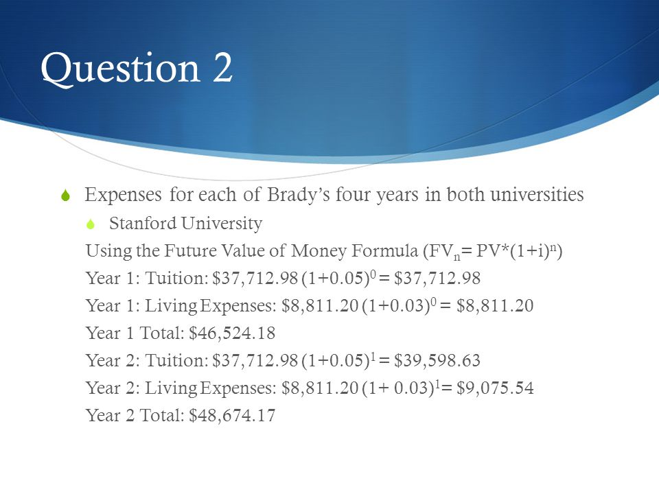 Question 2 Expenses for each of Brady's four years in both universities. Stanford University.