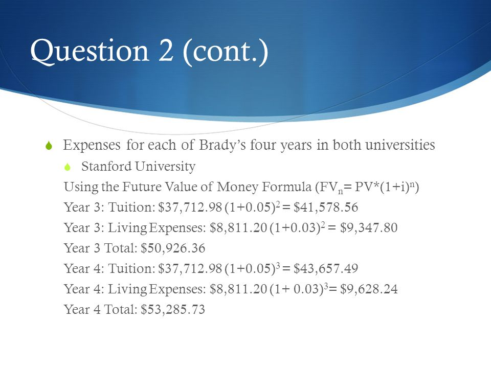 Question 2 (cont.) Expenses for each of Brady's four years in both universities. Stanford University.