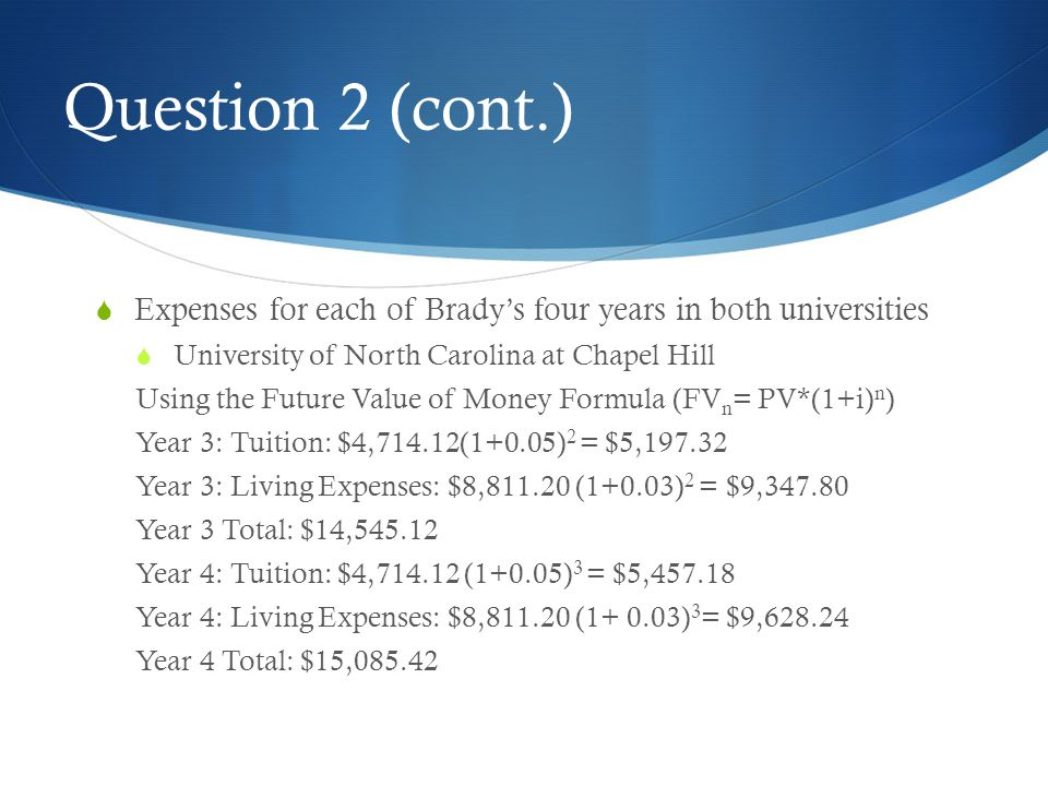 Question 2 (cont.) Expenses for each of Brady's four years in both universities. University of North Carolina at Chapel Hill.