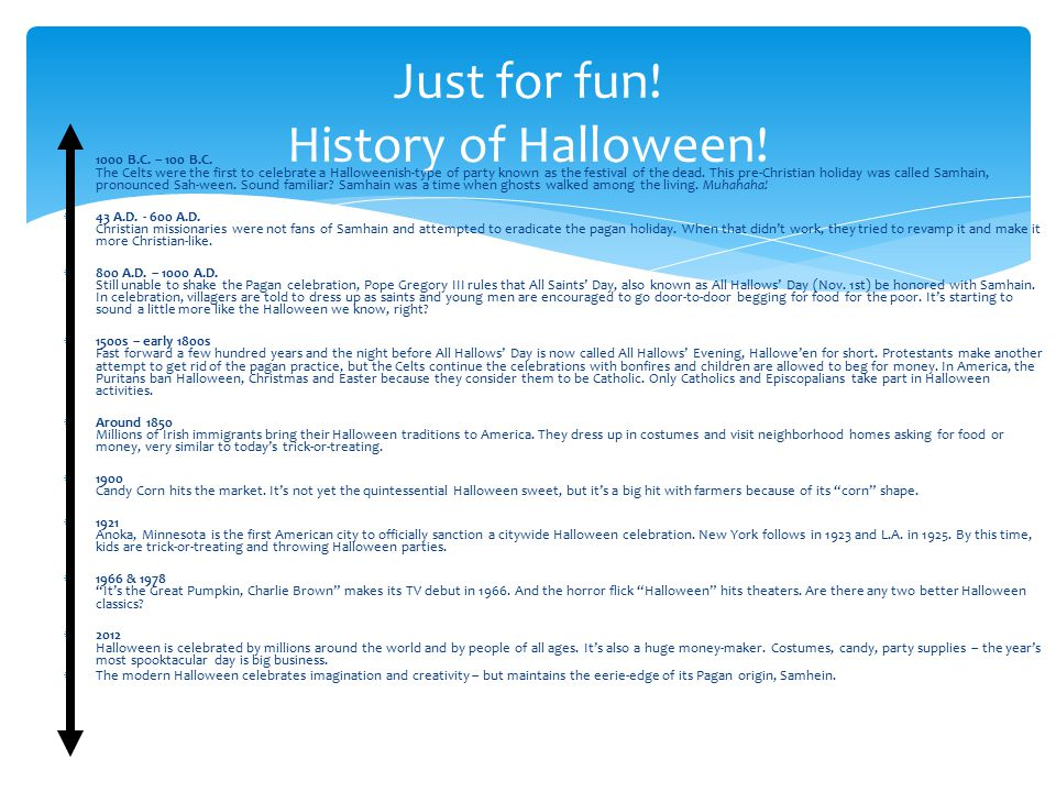 Just for fun! History of Halloween!
