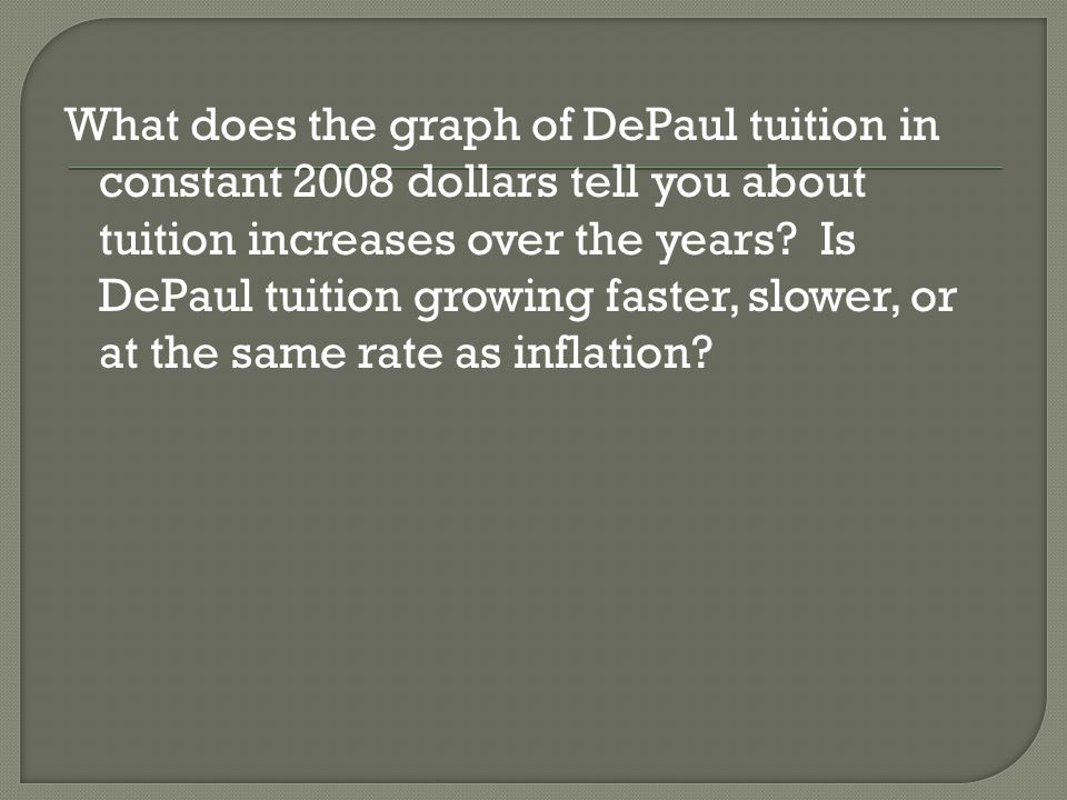 What does the graph of DePaul tuition in constant 2008 dollars tell you about tuition increases over the years Is DePaul tuition growing faster, slower, or at the same rate as inflation