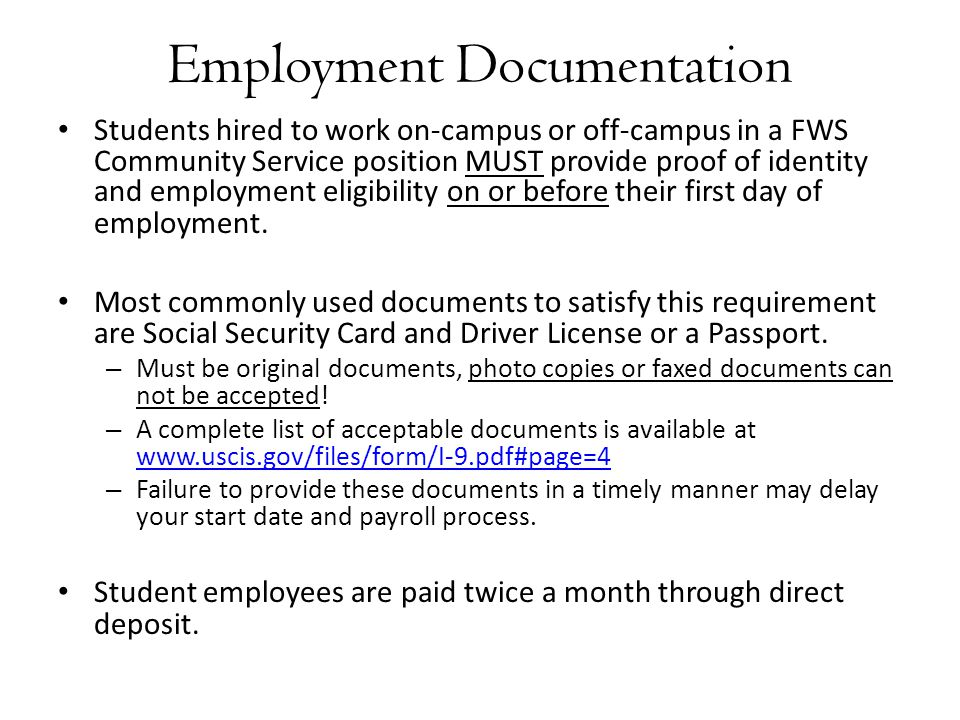 Employment Documentation