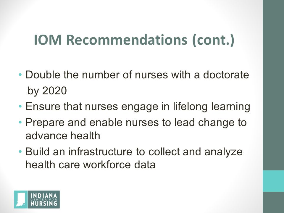 IOM Recommendations (cont.)