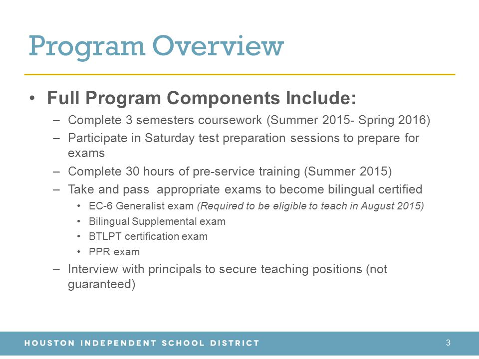 Program Overview Full Program Components Include:
