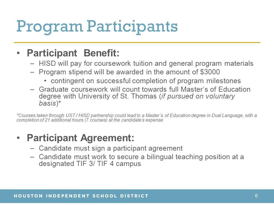Program Participants Participant Benefit: Participant Agreement: