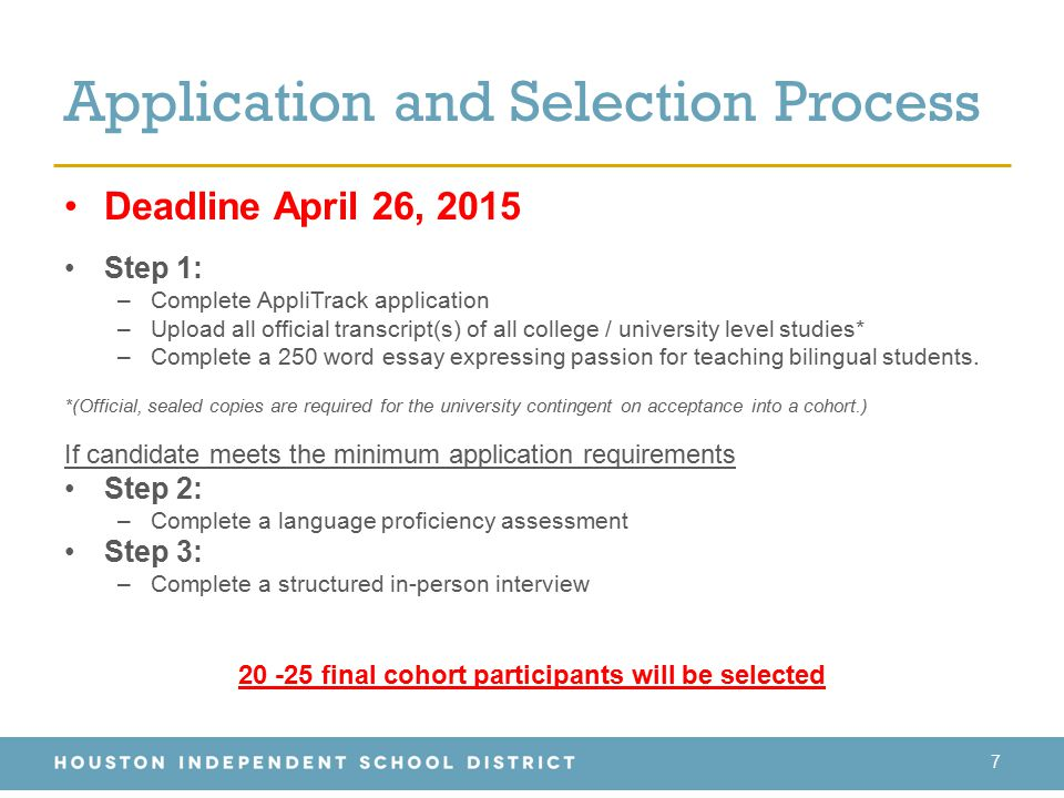 Application and Selection Process