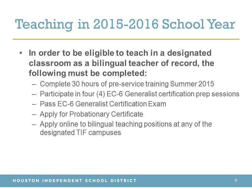 Teaching in 2015-2016 School Year