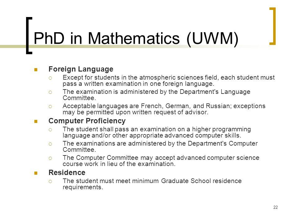 PhD in Mathematics (UWM)