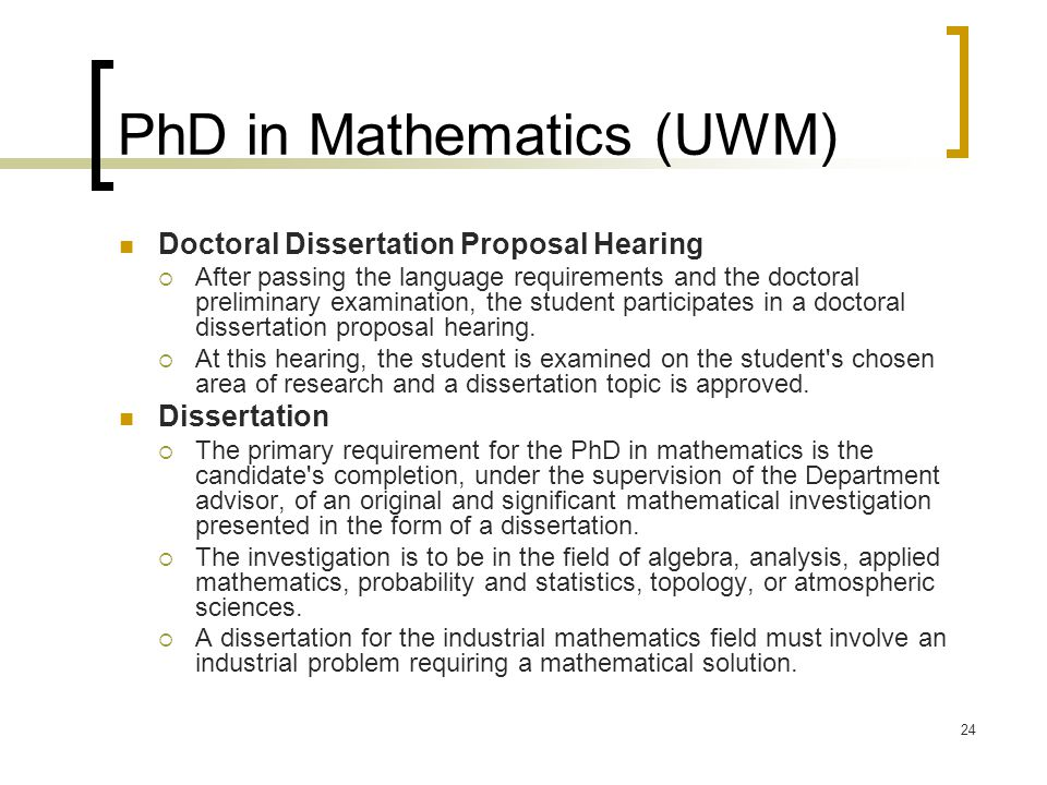 Phd research proposal applied mathematics