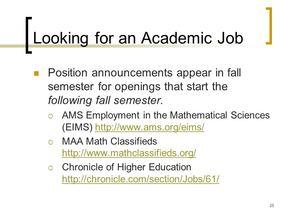 Looking for an Academic Job