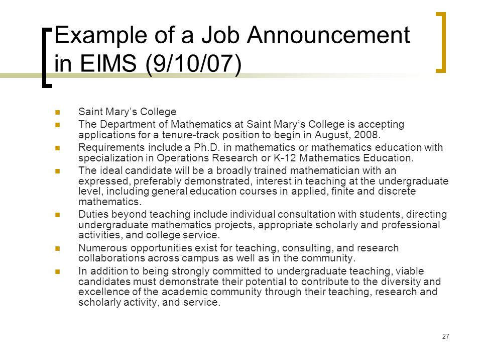 Example of a Job Announcement in EIMS (9/10/07)