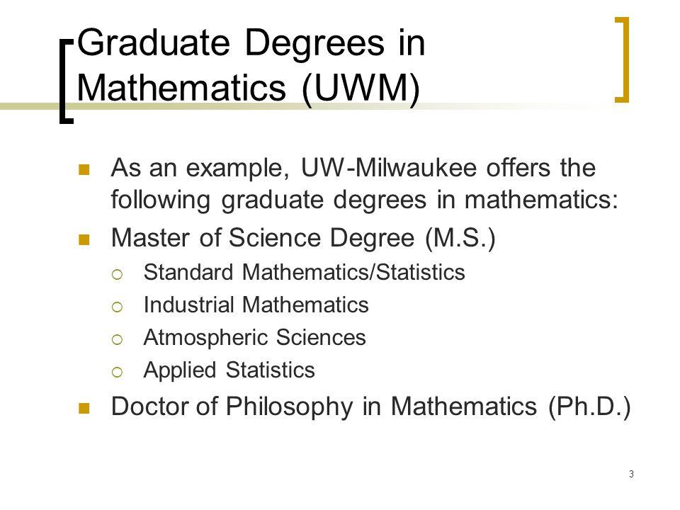 Graduate Degrees in Mathematics (UWM)