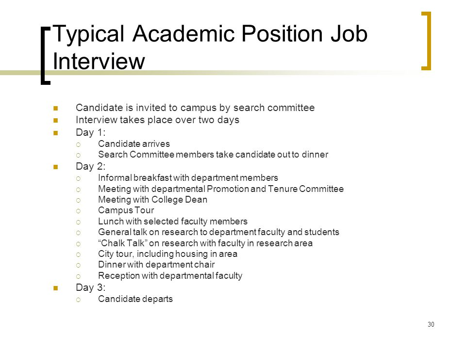 Typical Academic Position Job Interview