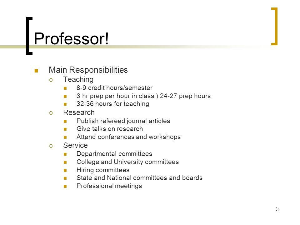 Professor! Main Responsibilities Teaching Research Service