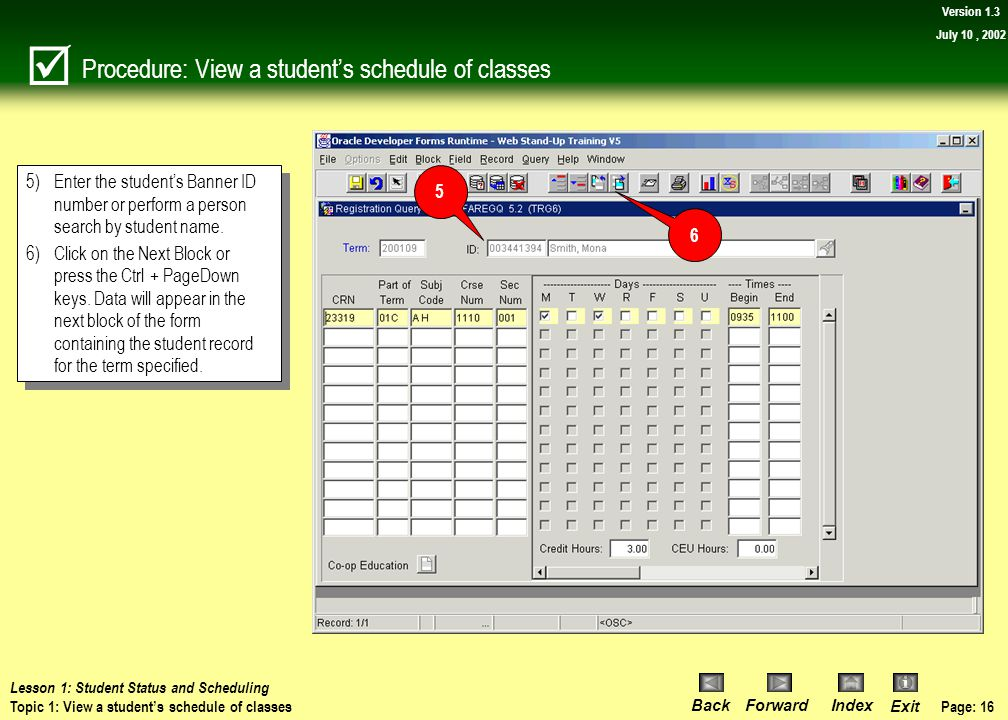 Procedure: View a student's schedule of classes