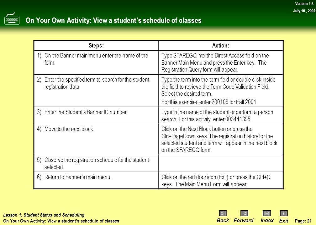On Your Own Activity: View a student's schedule of classes