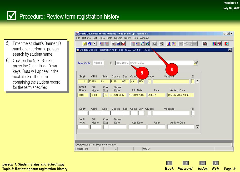 Procedure: Review term registration history