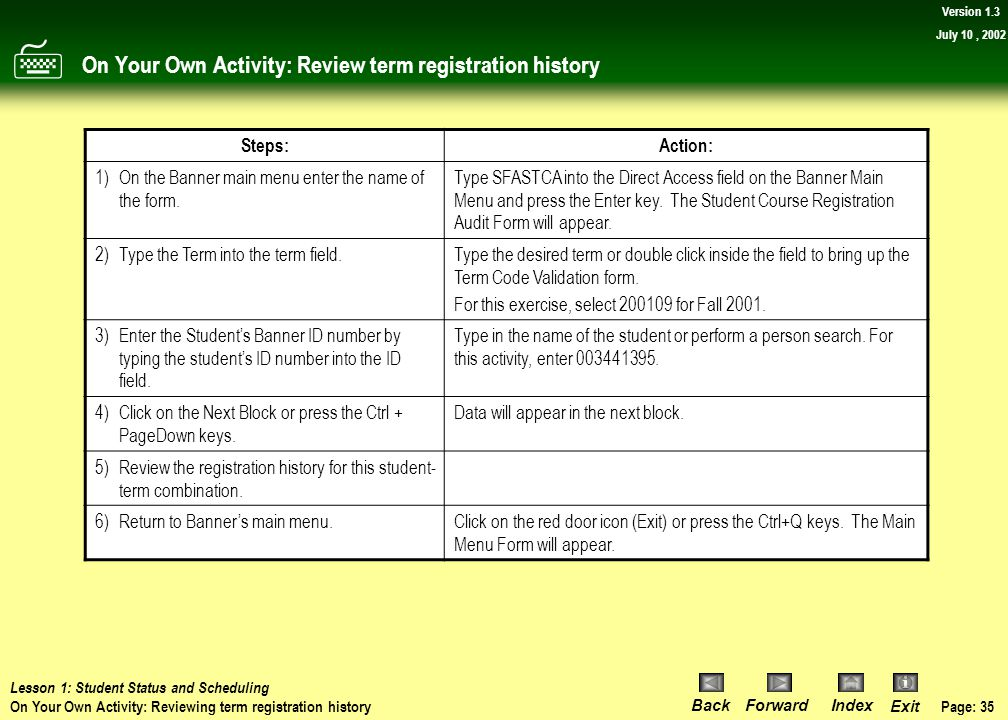 On Your Own Activity: Review term registration history