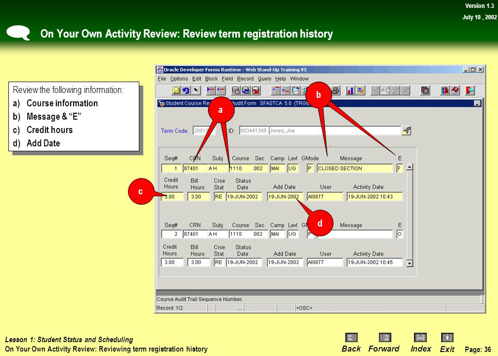 On Your Own Activity Review: Review term registration history