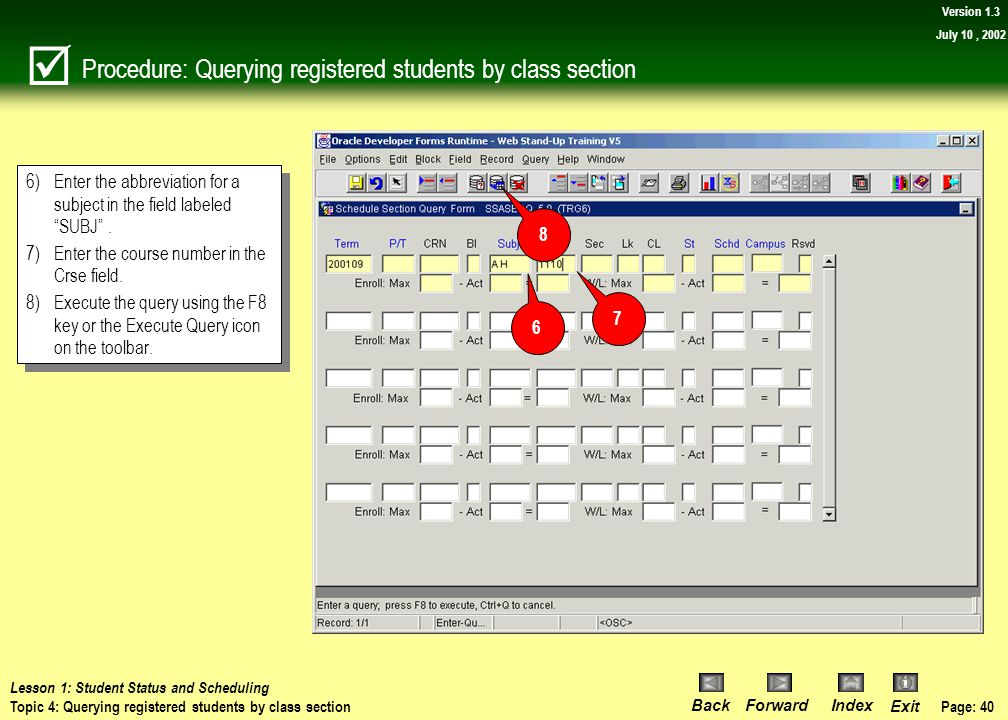 Procedure: Querying registered students by class section