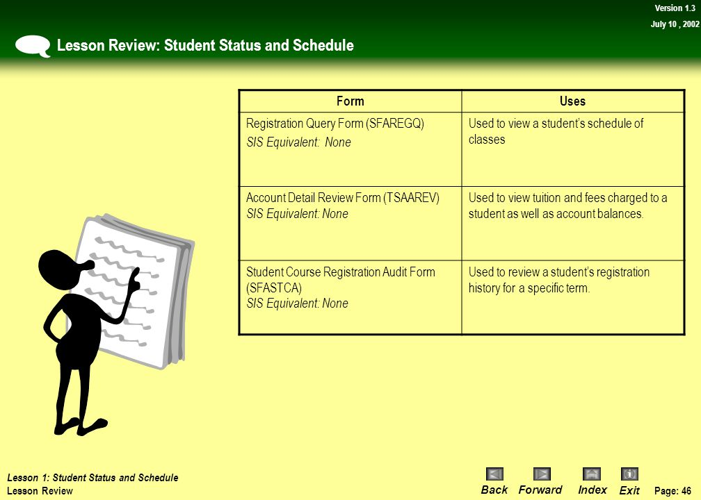 Lesson Review: Student Status and Schedule