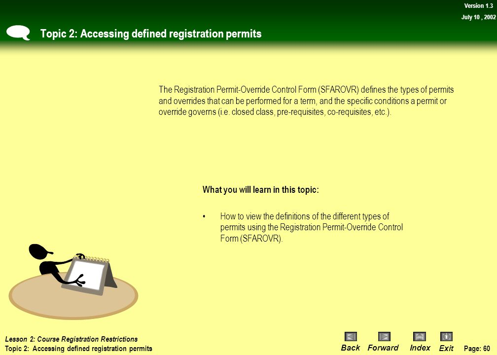 Topic 2: Accessing defined registration permits