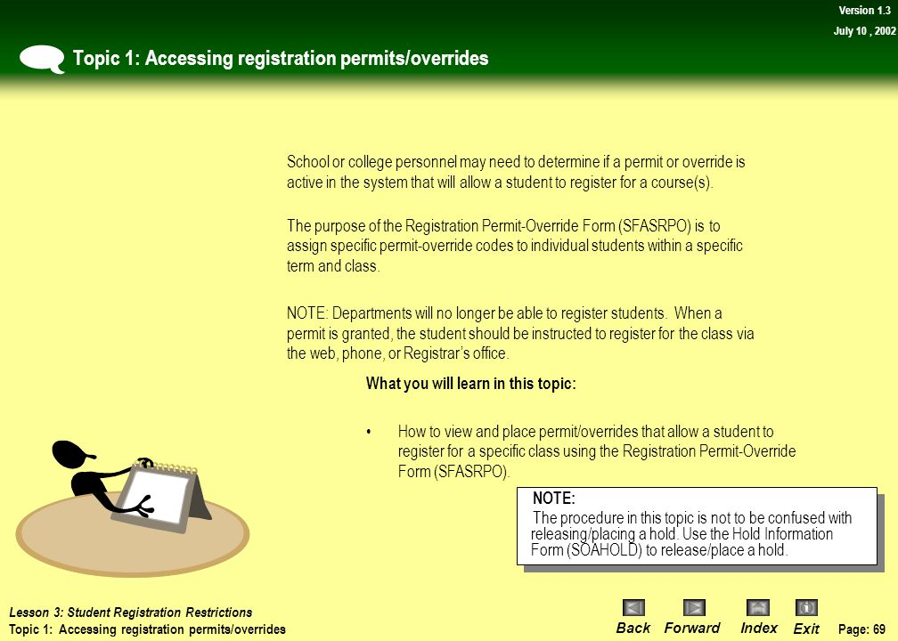 Topic 1: Accessing registration permits/overrides