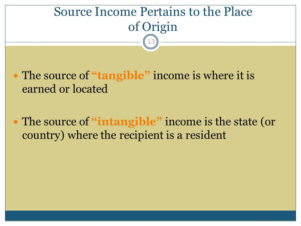 Source Income Pertains to the Place of Origin