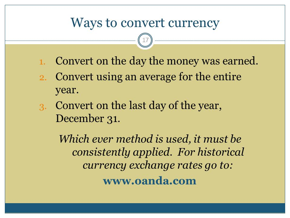 Ways to convert currency