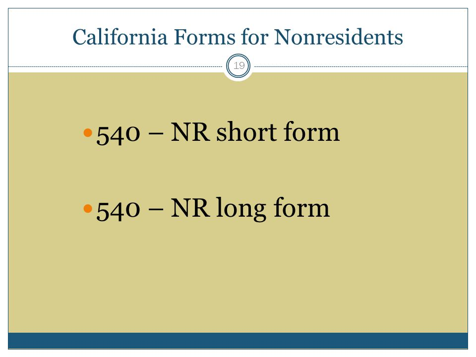 California Forms for Nonresidents