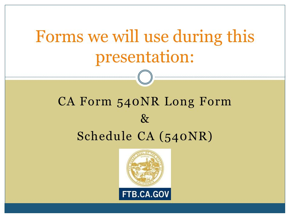 Forms we will use during this presentation: