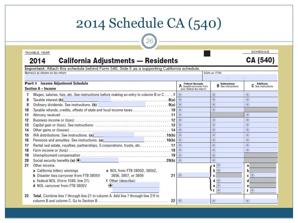 2014 Schedule CA (540)