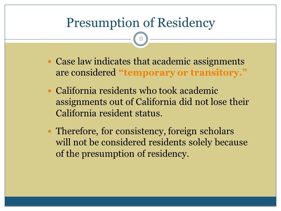 Presumption of Residency