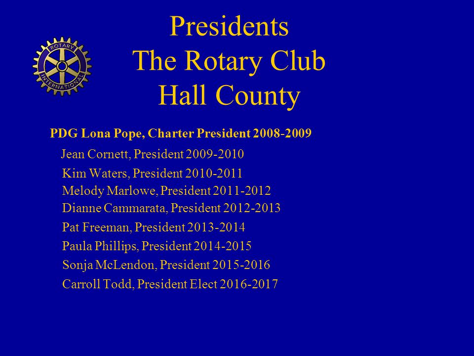 Presidents The Rotary Club Hall County
