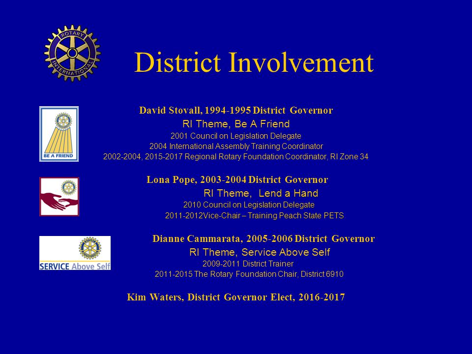 District Involvement David Stovall, 1994-1995 District Governor