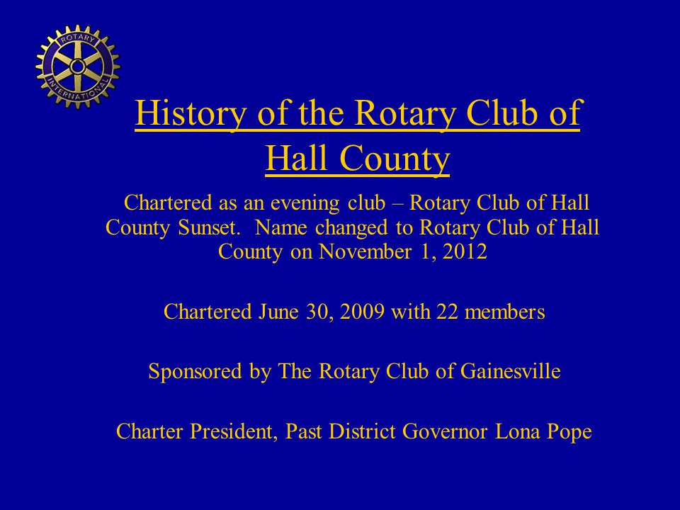 History of the Rotary Club of Hall County
