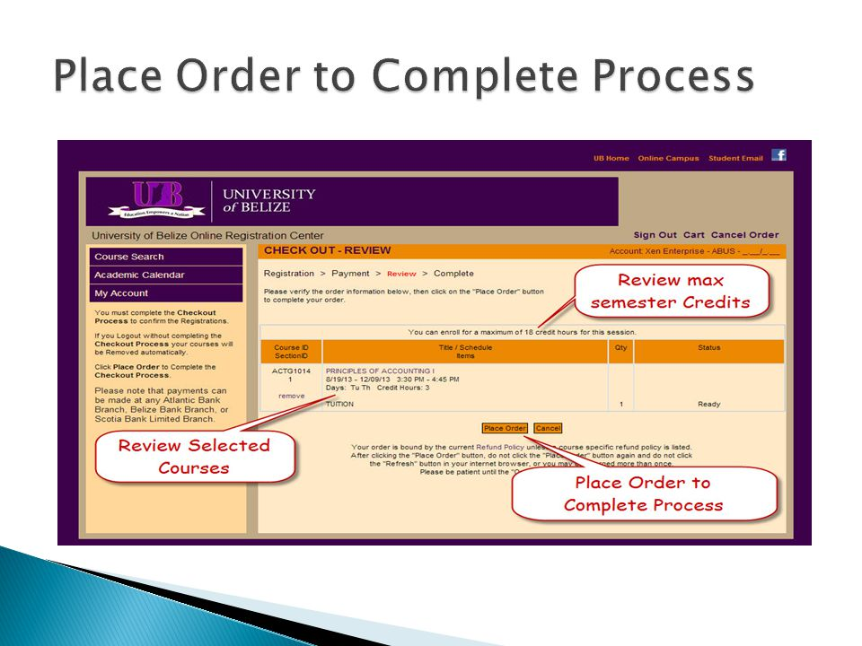 Place Order to Complete Process