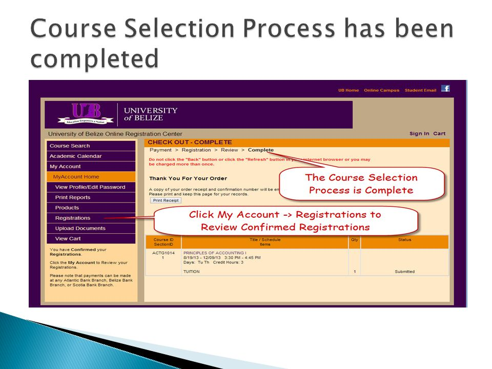 Course Selection Process has been completed