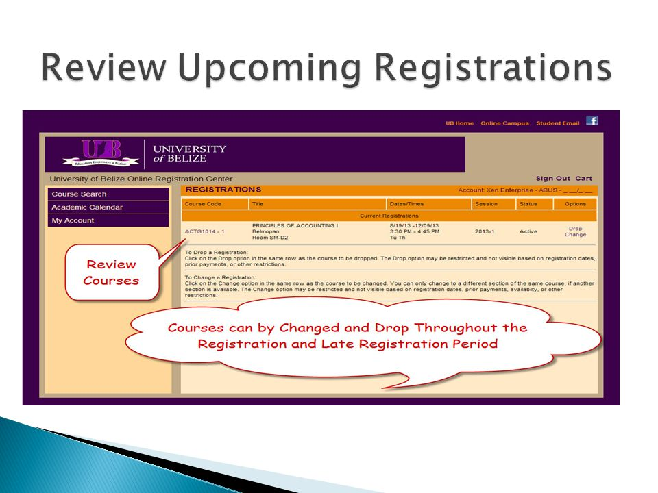 Review Upcoming Registrations