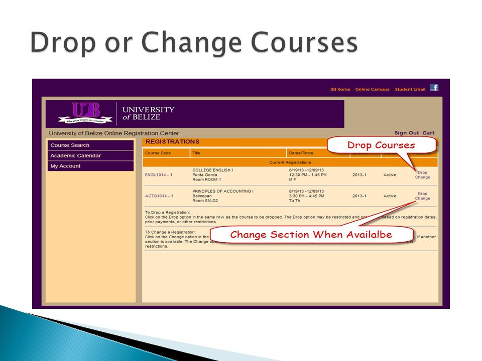 Drop or Change Courses