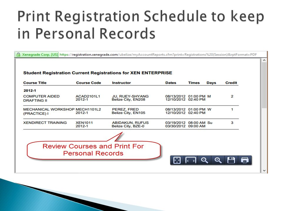 Print Registration Schedule to keep in Personal Records