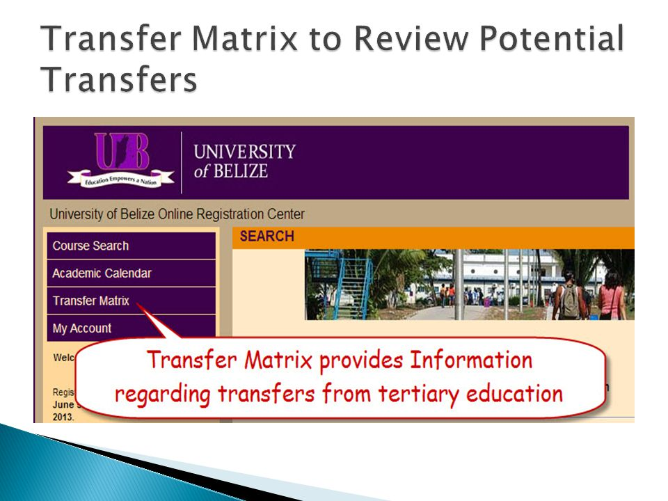 Transfer Matrix to Review Potential Transfers