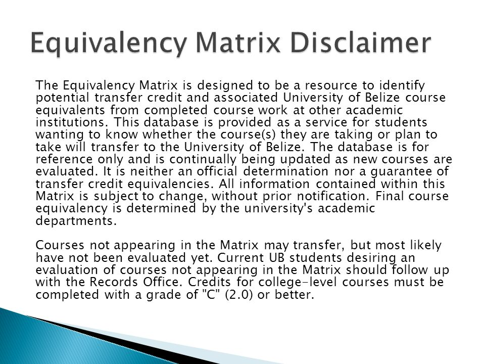 Equivalency Matrix Disclaimer