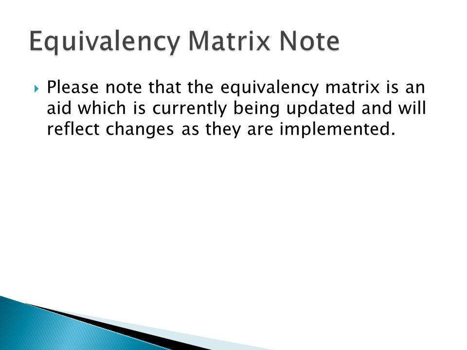 Equivalency Matrix Note