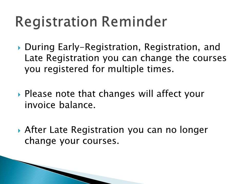 Registration Reminder