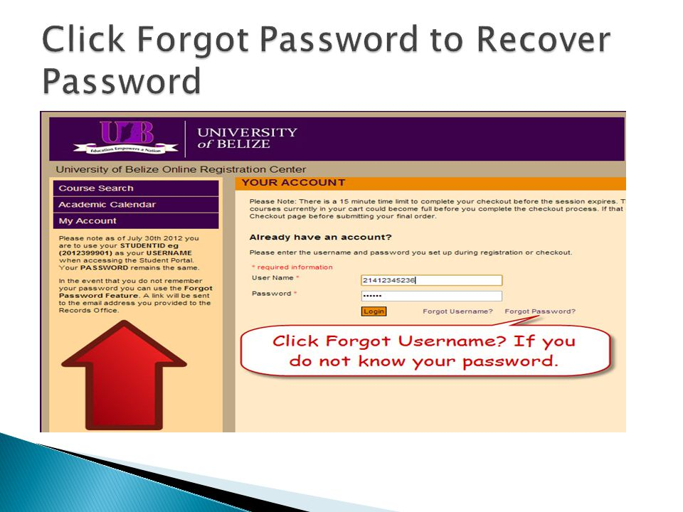 Click Forgot Password to Recover Password