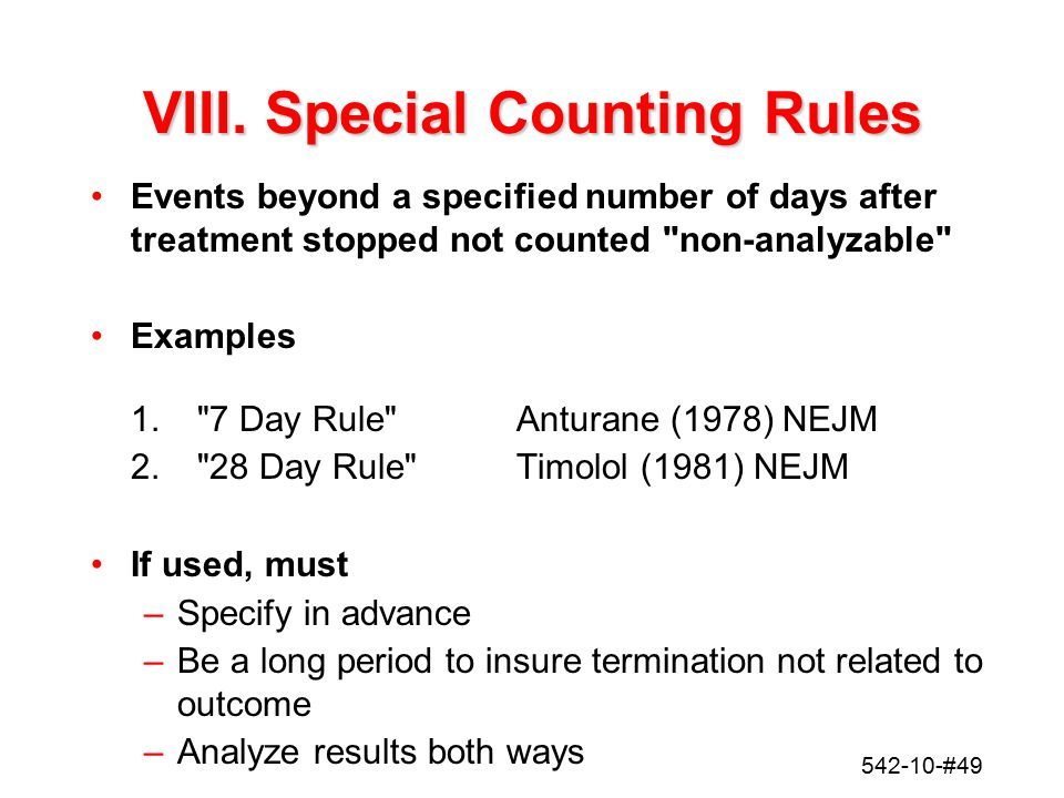 VIII. Special Counting Rules
