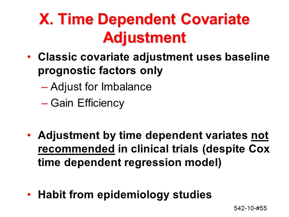 X. Time Dependent Covariate Adjustment